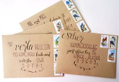 love the combo of craft paper and hand lettering by tara of tine and thread, via oh so beautiful paper