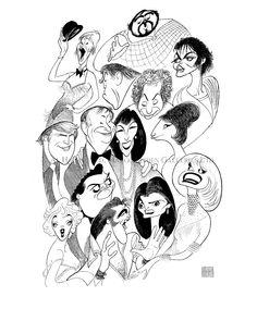 Al Hirschfeld ~ Abe Hirschfeld, Anthony Quinn, Barbra Streisand, Carol Channing, Donald Trump, Elvis Presley, Jackie Gleason, Jackie Mason, Jacqueline Onassis, Luciano Pavarotti, Marilyn Monroe, Michael Jackson, and Shirley MacLaine