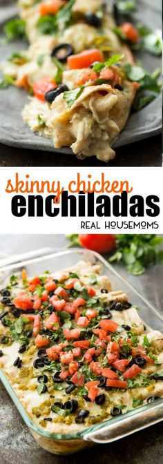 These Skinny Creamy Chicken Enchiladas are so full of flavor that no one will know that they're skinny! You can even make a double batch and freeze one for later. It's the perfect make-ahead family meal! via @realhousemoms