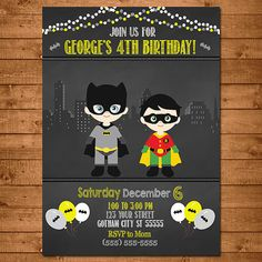 Batman Robin Superhero Invitation Chalkboard por NineLivesNotEnough
