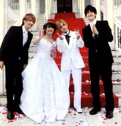 Hey! Say! Jump members take turns dressing as bride and grooms.