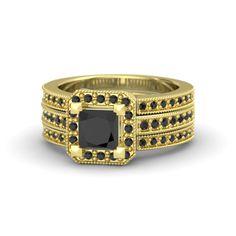 Princess Black Diamond 18K Yellow Gold Ring with Black Diamond   Va Voom Ring   Gemvara