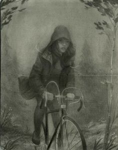 """Made by: Zach Montoya , """"North"""" - Graphite on Moleskine  (bike, biking)"""