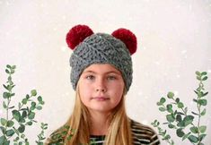 Knitted pom pom hat #pompoms #crochet #hat #knittedhat #tieon #etsy #kidshats #spiralpatternhat #doublepompomhat #hatwithpompoms #grey #red #twopompoms #handmade #crochetdesigner #winterfashion #fashionhats Pom Pom Hat, Pom Poms, Knitted Hats, Crochet Hats, Spiral Pattern, Kids Hats, Leather Earrings, My Etsy Shop, Tie