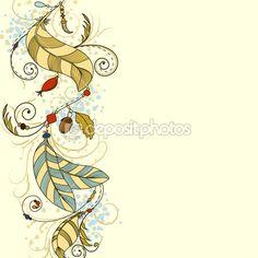 Открытка Вит перья и бусы — Векторная картинка #17823215