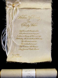 """Natural Scroll"" Wedding Invitation by Arlene Segal Designs"
