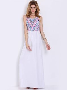 Vestido Longo Branco Corpo Estampado - Compre Online