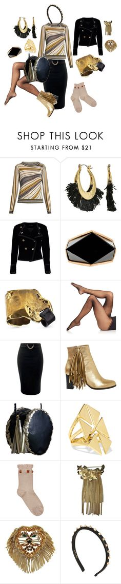 """""""Bewitching Black and Gold"""" by tamarilloh ❤ liked on Polyvore featuring Diane Von Furstenberg, Rebecca Minkoff, Boohoo, Commando, Christian Louboutin, Noir Jewelry, Pierre Mantoux, Napier, Dominique and Valentino"""