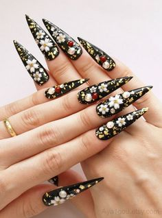 Fake #nails long nails #stiletto nails #Japanese nail art by Aya1gou, $21.00