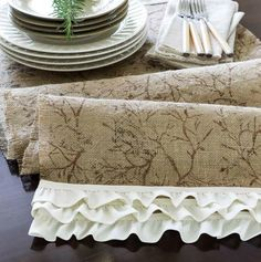 Easy step by step directions to make a burlap ruffled table runner. No sewing!