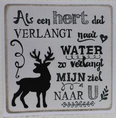 Gemaakt door Joke # tekst gestempeld met de Eline's handlettering stamps # Als een hert dat verlangt naar water - wit
