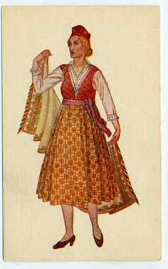 Latvian National Costumes Latvia Livland 1926 Cirulis Salamandra Riga Postcard