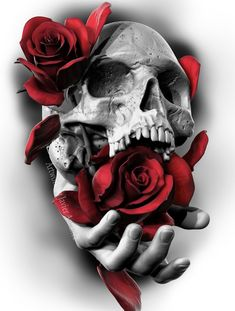 Skull and Roses Rendered using Zbrush, then finalized in Photoshop by Javier Ant. - Skull and Roses Rendered using Zbrush, then finalized in Photoshop by Javier Antunez, Owner/Artist - Small Skull Tattoo, Skull Rose Tattoos, Skull Tattoo Design, Skull Design, Body Art Tattoos, Sleeve Tattoos, Tattoo Designs, Zbrush, Tattoo Sketches