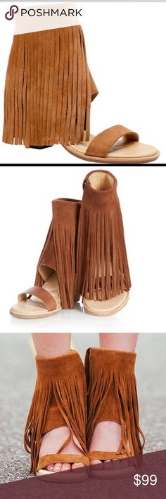 "New Koolaburra By Ugg Fringe Wedge Piaz Sandal 6 This is a new pair of Koolaburra by Ugg Piaz II Fringe sandal. Size 6. No flaws. The iconic Piaz fringe sandal features a chunky wedge heel, a contrast front strap, and floor-length fringe. Heel Height: 3 1/2"" Fit: True to Size Upper: Suede UGG Shoes Sandals"