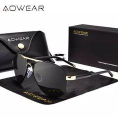 b8043bed2 AOWEAR Aviador Mirror Sunglasses Men Polarized Aviation Sun glasses for Men  Women HD UV400 Driving Goggles