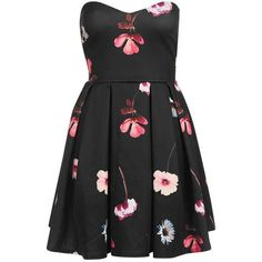 Bandeau Dress by Oh My Love (£55) ❤ liked on Polyvore featuring dresses, floral printed dress, flower print dress, oversized dress, floral sweetheart dress and topshop dresses