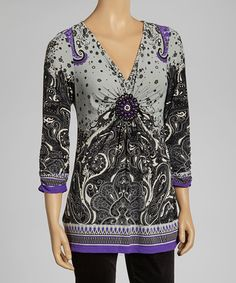 Take a look at this Purple & Green V-Neck Tunic by eci New York on #zulily today! $30 !!