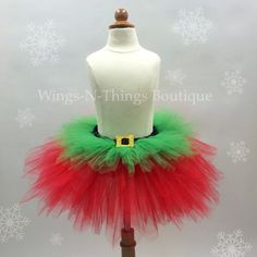 ADULT CHRISTMAS ELF Tutu Skirt, Women's Costume, Prop, Santa Little Helper, Holiday, Running, Race, Bachelorette, Party Favor, Roller Derby by wingsnthings13. Explore more products on http://wingsnthings13.etsy.com
