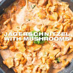 Classic Jägerschnitzel Recipe - Hunter Schnitzel cutlet, unbreaded in a creamy mushroom white wine sauce. Austrian German one pan meat fall dinner idea with foraged chanterelle mushrooms. www.MasalaHerb.com