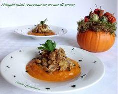 Funghi misti croccanti su crema di zucca