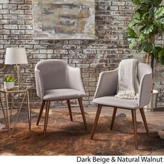 Rhys Mid-Century Fabric Dining Chair (Set of 2) by Christopher Knight Home from Overstock