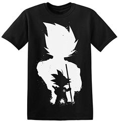 Dragon Ball Little Goku Black Silhouette Men's T-shirt Medium #camiseta #realidadaumentada #ideas #regalo