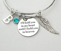 I'll Hold You In My Heart Until I Hold You In Heaven Charm Bangle, Stainless Steel Engraved Charm, Personalized, Memorial, Loss, Bereavement