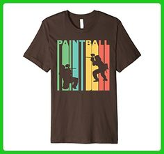 Mens Retro 1970's Style Paintball Players Silhouette T-Shirt Small Brown - Retro shirts (*Amazon Partner-Link)