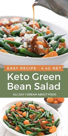 This easy green bean salad makes a delicious keto summer side dish. Crisp blanched green beans with bacon, cherry tomatoes, and feta. Did I mention bacon?