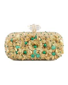 Marchesa Lily Floral Embroidered Box Clutch, Gold/Green - Neiman Marcus