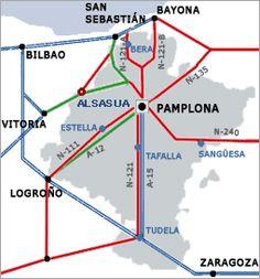 Mapa de Navarra en el cual destaca Alsasua