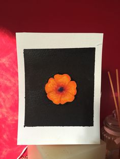 Orange watercolour flower