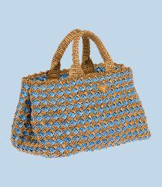 crocheted raffia tote from Prada! Crochet Tote, Crochet Purses, Knit Crochet, Prada, Jute Bags, Summer Bags, Market Bag, Knitted Bags, Handbags On Sale