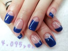 I would like all nails to be like the one with small blue tip and then ring finger blue with snow flakes