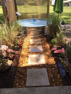 Stock tank swimming pool made from galvanized metal stock tank.  My kids love it!!
