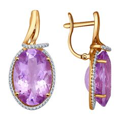 Gold Amethyst and CZ Earrings