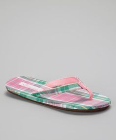 f5ed6860f3d1 Tidewater Sandals - Pink   Green Plaid Flip-Flop Picnic In The Park
