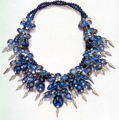 "Cartier cabochon sapphire & diamond necklace which belong to the Wallis Simpson (Bessie Wallis Warfield-Spencer-Simpson) (1896-1986) USA, Duchess of Windsor 1940. Wallis was the wife of ex-King Edward VIII ""David"" (Edward Albert Christian George Andrew Patrick David) (1894-1972) Duke of Windsor UK."