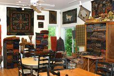 "The best rug hooking studio ever!  Rhonda Manley's Black Sheep Wool Designs.  This is my ""happy place."""