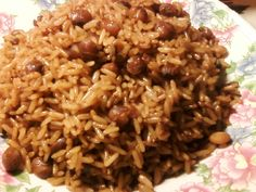 Bahamian Peas and Rice Recipe -  Ingredients: onion, sweet pepper, cooking oil, tomato paste,  thyme, Salt  & pepper,  browning (optional), pigeon peas,  long grain white rice (uncooked), water     Directions @ http://cookingwithsugar.blogspot.com/2012/01/bahamian-peas-and-rice.html
