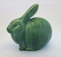 Rookwood Pottery Green Rabbit Paperweight