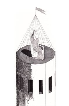 'The Princess in her tower' (The Little Sea Hare)  David Hockney Illustrates the Fairy Tales of the Brothers Grimm | Brain Pickings