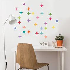 28 Multicolor Modern Diamond Wall Decals