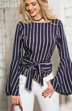 Stripped boat neck blouse with wide bell-sleeve cuffs