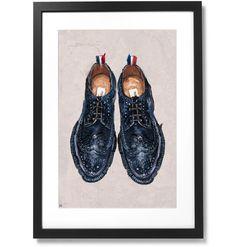 Framed Thom Browne Pebble-Grain Leather Longwing Brogues Print, X Thom Browne, Black Wood, Brogues, Solid Black, Grains, Museum, Detail, Frame, Artist