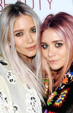 Dip-die hair is tricky to get right so going full heartedly pastel must take quite the wizard hairstylist and if anyone could pull it off the Olsen twins would be the girls to do it! Love this look on them!