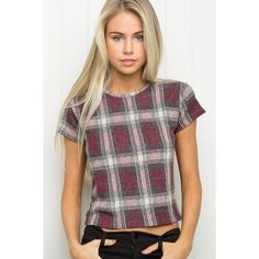 Sammy Top ($25) ❤ liked on Polyvore featuring tops, tartan top, burgundy crop top, plaid crop top, crop top and knit crop top