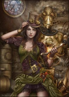 """riverstoneproductions: """" There are a lot of lovely little details in this steampunk piece by artist Cris Ortega. """"Ex Machina"""" by Cris Ortega, via DeviantArt """" Moda Steampunk, Steampunk Kunst, Chat Steampunk, Steampunk Artwork, Style Steampunk, Steampunk Fashion, Steampunk Images, Steampunk Mechanic, Steampunk Book"""