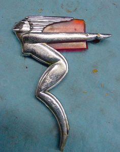 Vtg Art Deco Winged Hood Ornament 1934 1935 1936 Hudson Terraplane Hot Rat Rod