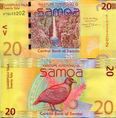 SAMOA 20 Tala Banknote World Money UNC Currency South Pacific BILL p40 Bird Note picclick.com